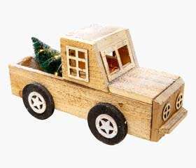 Wood truck with pine tree