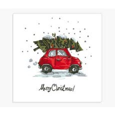 Christmas napkins tree car