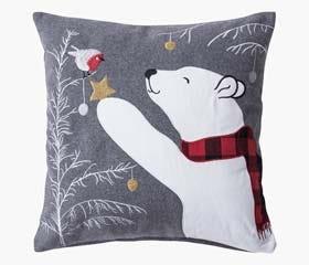 Deco cushion embroidery bear