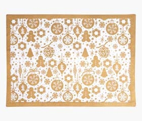 tree decorations placemat gold