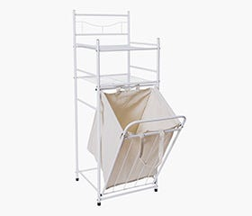 shelf with hamper