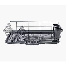 HOME BASICS Sink Dish Drainer Rack (Black)