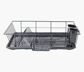 HOME BASICS Sink Dish Drainer Rack (Black)