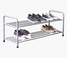 AKSEL 2 Tier Shoe Rack (Grey)