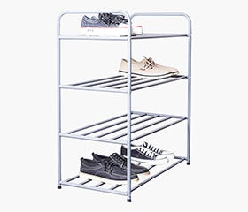 AKSEL 4 Tier Shoe Rack (Grey)