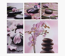 Set of 5 calming Stone Flower prints.
