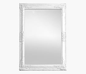 ANTIQUE Wooden Frame Mirror (White)