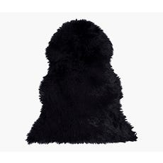 LINA Faux Fur Rug (Black)