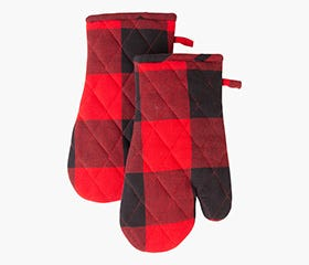 BUFFALO CHECK Black and Red Oven Mitts
