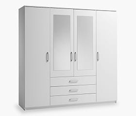 VINDERUP 4 Door Wardrobe (White)