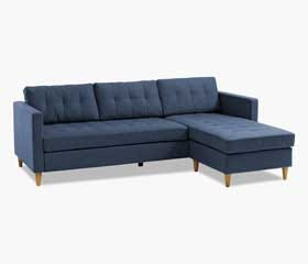 FALSLEV Sectional Sofa with Chaise (Dark Blue)