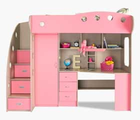 NIKA Loft Bed (Maple + Pink)