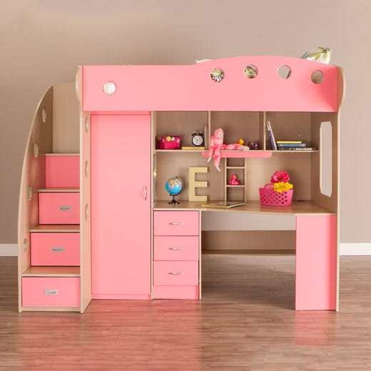 NIKA Loft Bed (Maple + Pink)