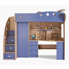 NIKA Loft Bed (Maple + Blue)