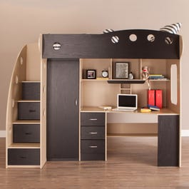 Nika Loft Bed With Desk And Storage Twin Maple Black Beds Bedroom Jysk Ca