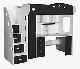 NIKA Loft Bed (White + Black)