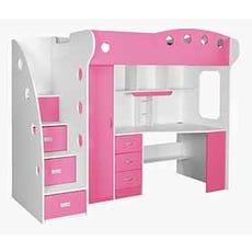 NIKA Loft Bed (White + Pink)