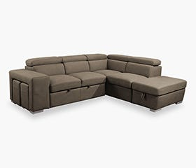ALVIK Chaise Sofa Bed (Taupe)