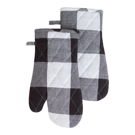 BUFFALO CHECK Black and White Oven Mitts