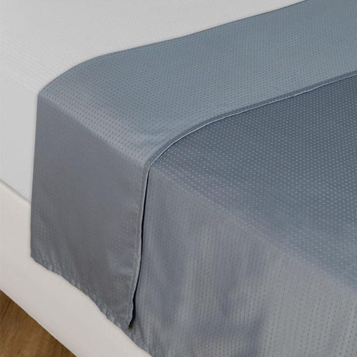 INGEBORG Flat Sheet, Blue Dobby