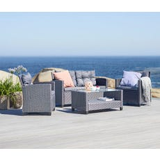 Grey outdoor conversation chair with loveseat, armchairs and table