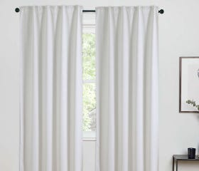 TRELLIS room darkening curtain panel, white