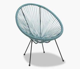 Outdoor Acapulco patio chair, petrol blue