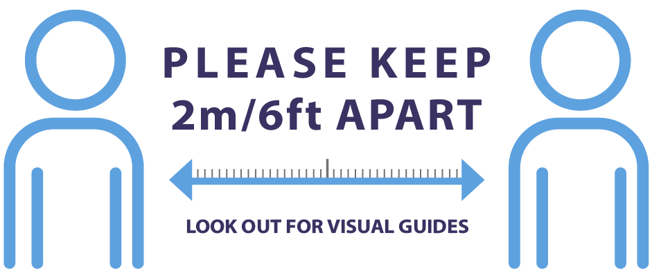 2m/6ft apart